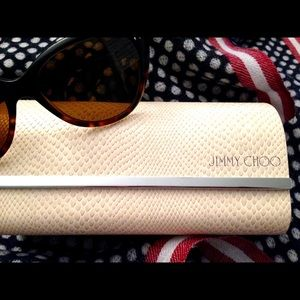 NWOT - JIMMY CHOO Creme Leather Glasses Case